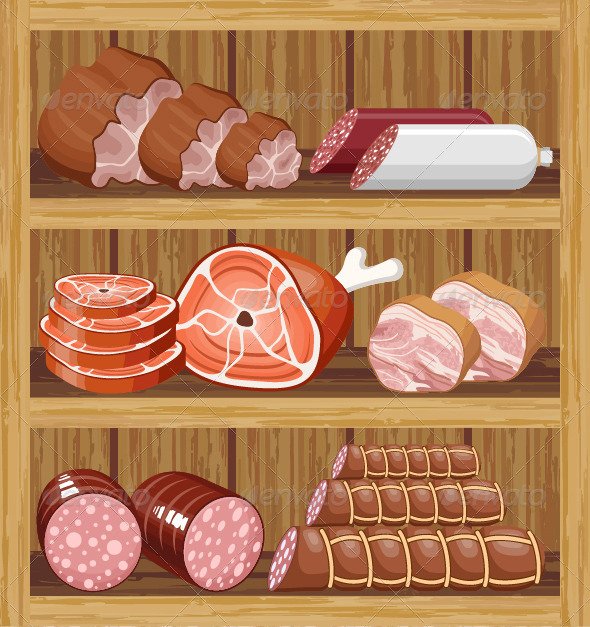 Shelfs with Meat Products