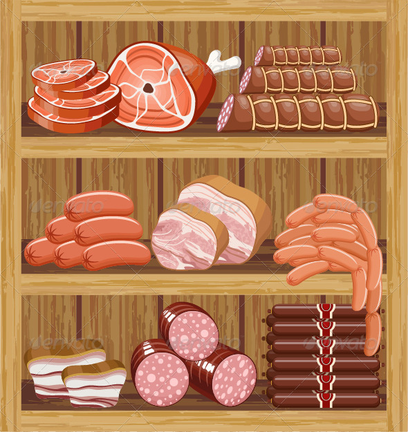 GraphicRiver Shelves with Meat Products 7479743