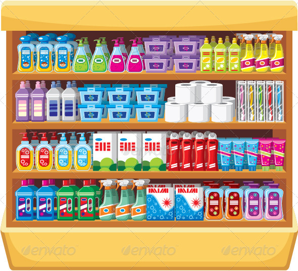 GraphicRiver Shelves with Household Chemicals 7479880