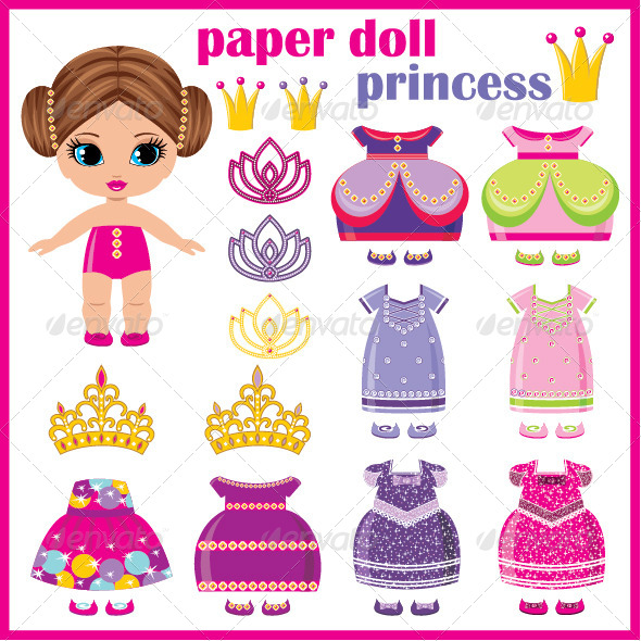 GraphicRiver Paper Doll Princess with a Set of Clothes 7479884