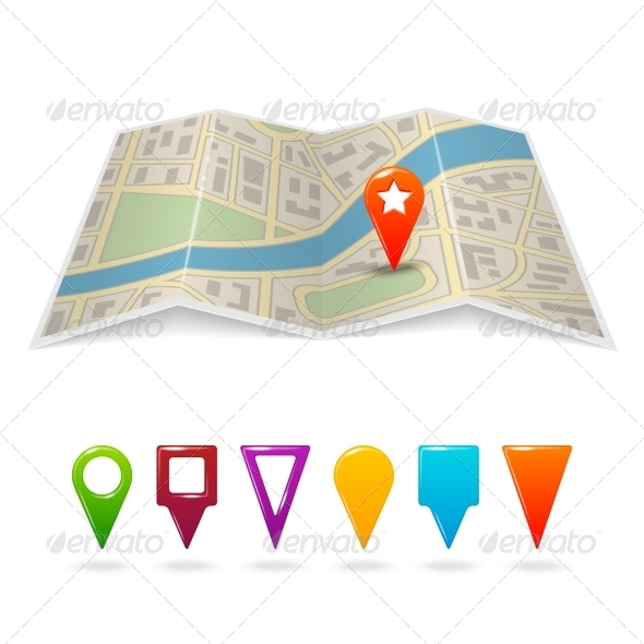 GraphicRiver City Map with Pins 7480004
