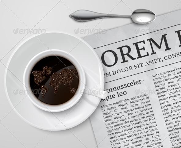 Coffee Cup on Newspaper