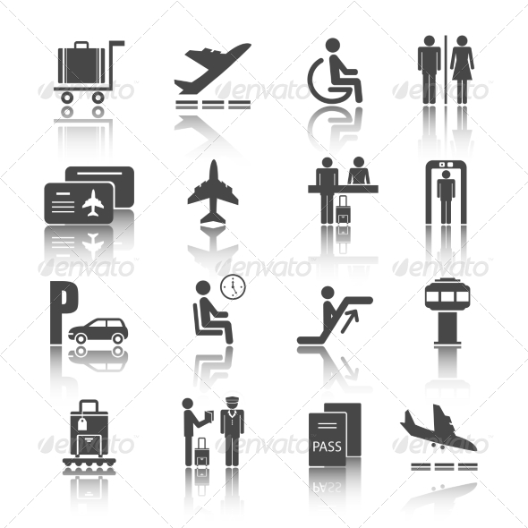 GraphicRiver Flat Airport Icons Set 7480011