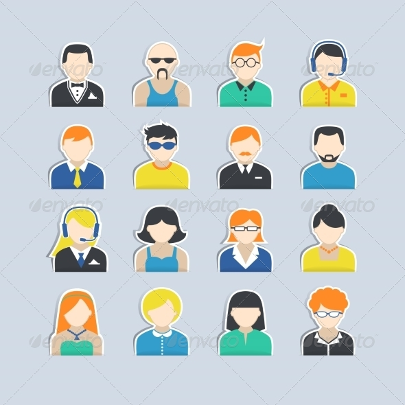 GraphicRiver Avatar Characters Stickers Set 7480019