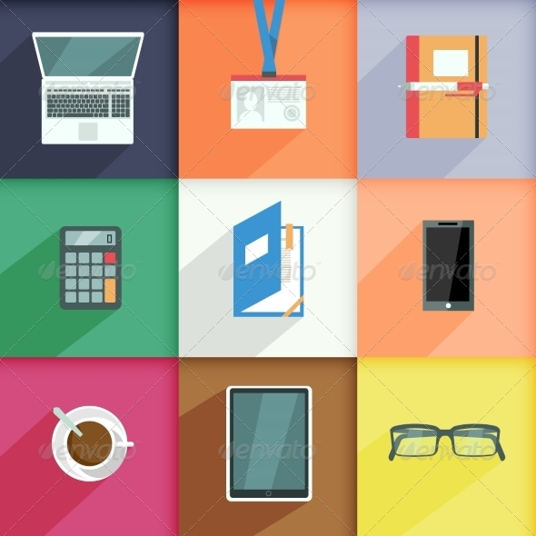 GraphicRiver Workplace Business Icons Set 7480024