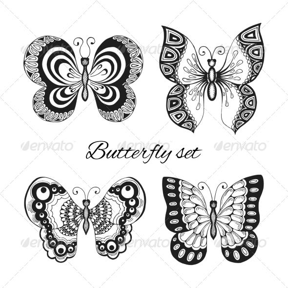 GraphicRiver Butterflies Decorative Icons Set 7480031