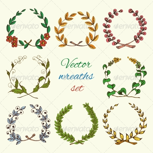 GraphicRiver Hand Drawn Wreaths Colored Set 7480112