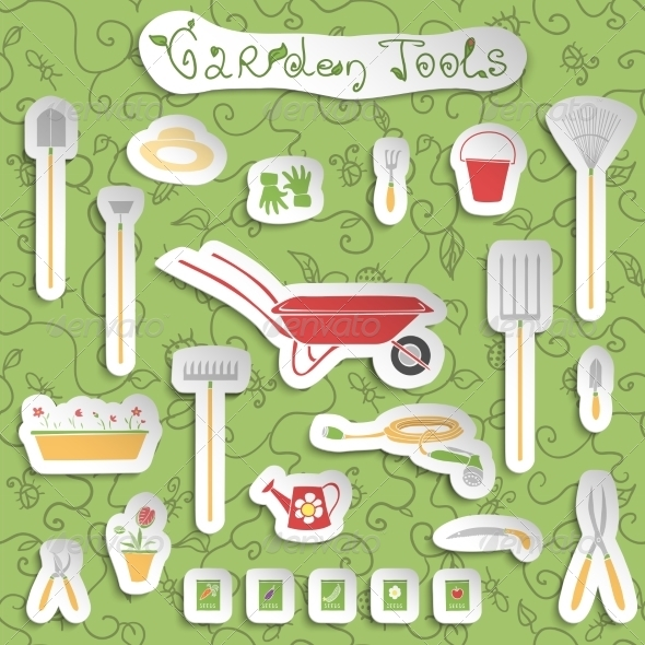 GraphicRiver Garden Tools Stickers Set 7480168