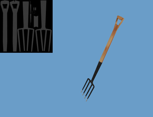 Low Poly Digging Fork - 3DOcean Item for Sale