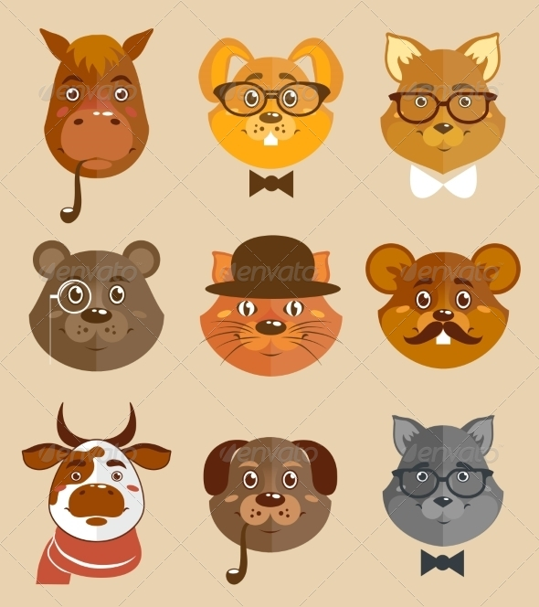 GraphicRiver Animal Hipsters Icons 7480212