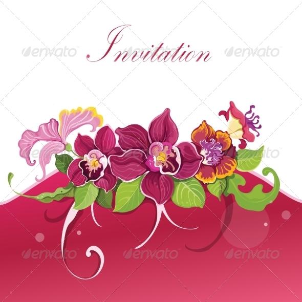 GraphicRiver Tropical Flower Invitation 7480230