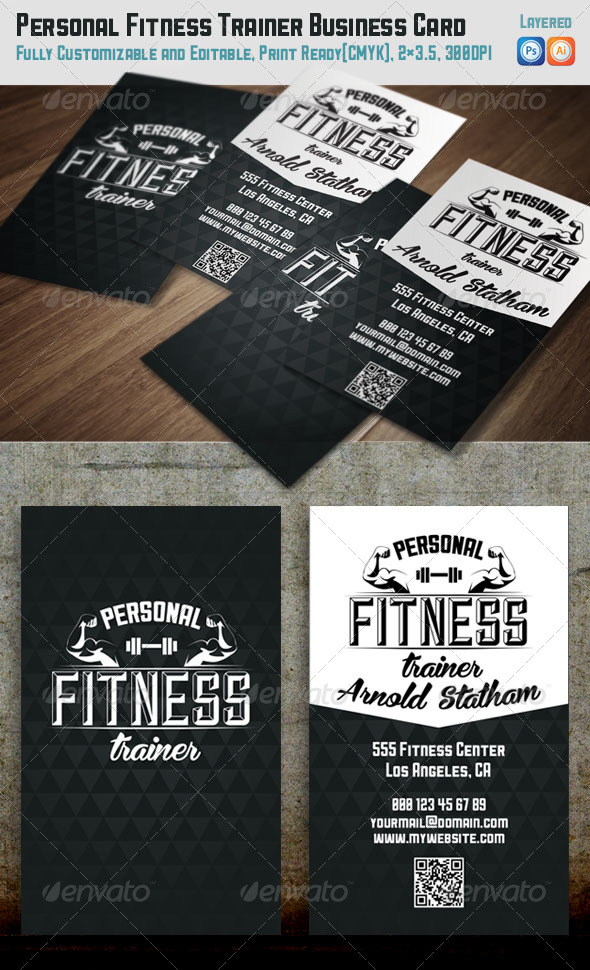 GraphicRiver Personal Fitness Trainer Business Card 7480237
