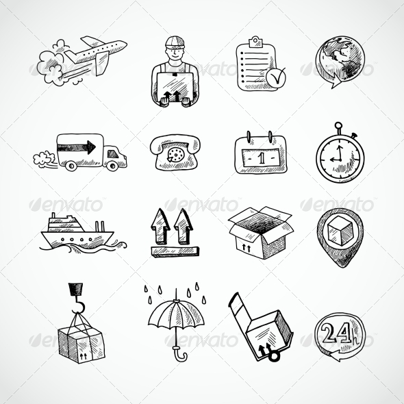GraphicRiver Logistic Hand Drawn Icons Set 7480267