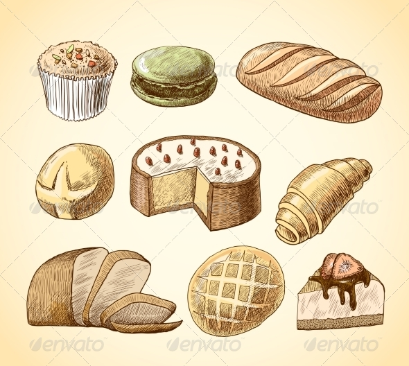 GraphicRiver Pastry and Bread Decorative Icons Set 7480273