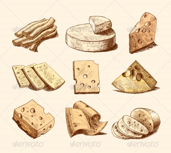GraphicRiver Cheese Sketch Collection 7480275