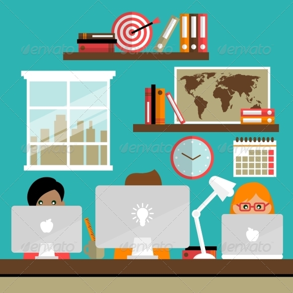 GraphicRiver Team Works on Laptops 7480277
