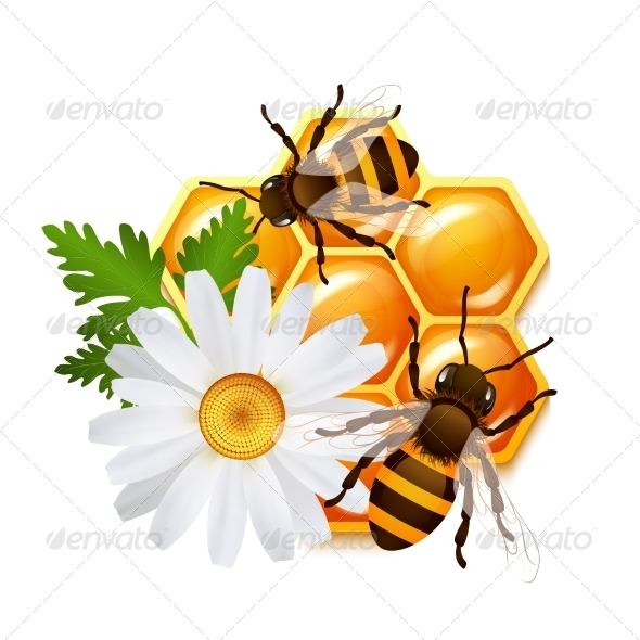 GraphicRiver Honeycomb Bee Flowers Emblem 7480281
