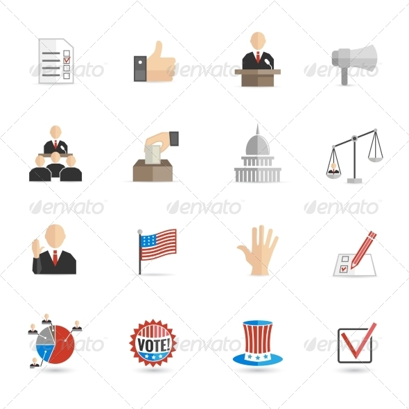 GraphicRiver Elections Icons Flat Set 7480331