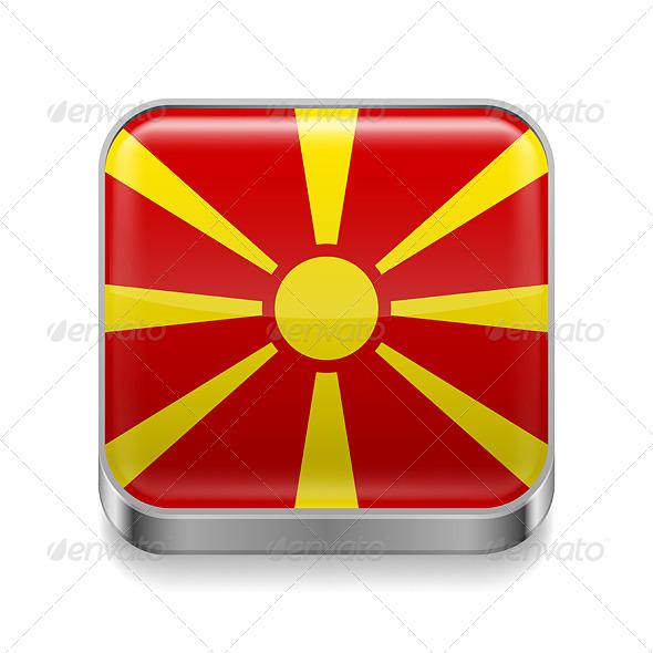 GraphicRiver Metal Icon of Macedonia 7480469