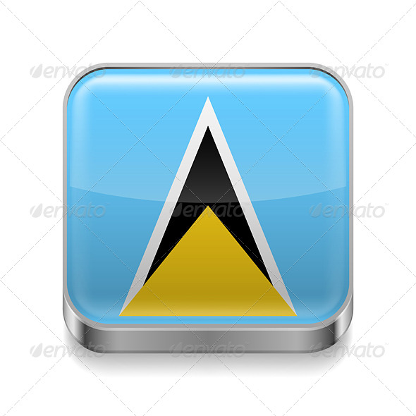 GraphicRiver Metal Icon of Saint Lucia 7480848
