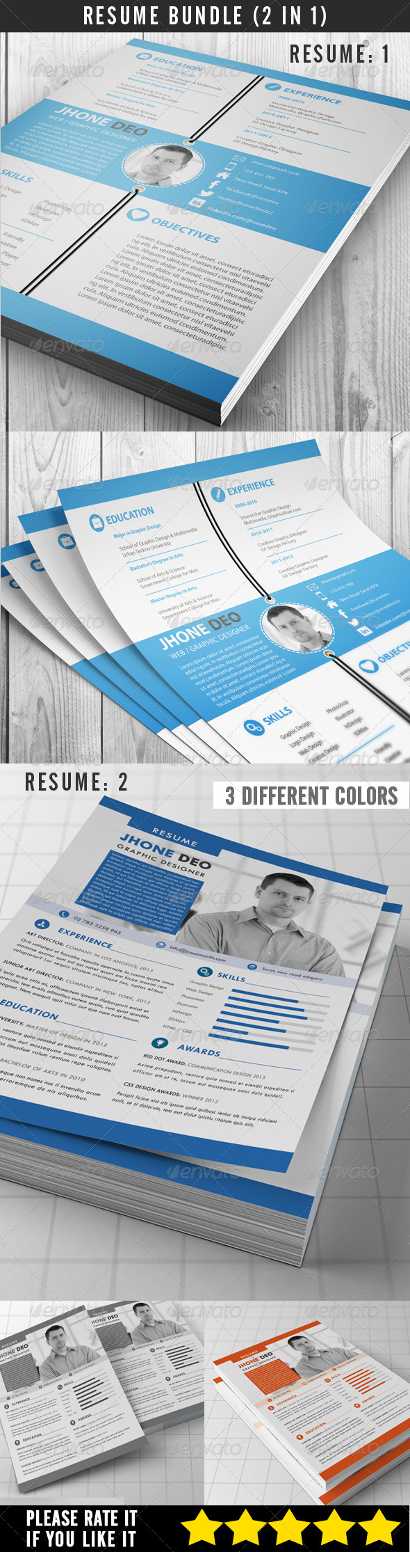 GraphicRiver Resume Bundle 2 in 1 7481010