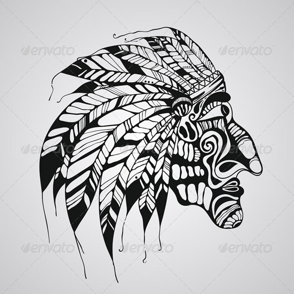 tattoo of native american indian chief graphicriver. Black Bedroom Furniture Sets. Home Design Ideas
