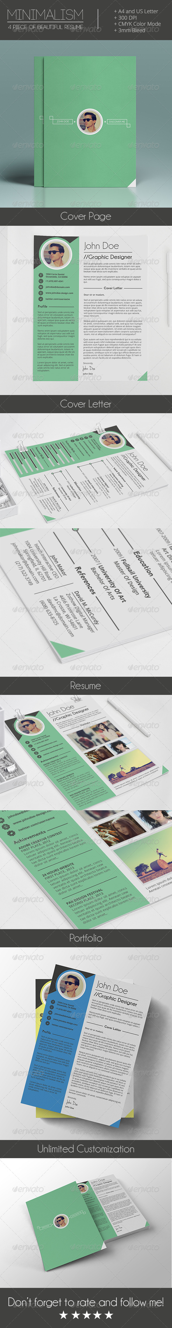 GraphicRiver Mimalism 4 Pieces of Ultra Clean Resume 7481462