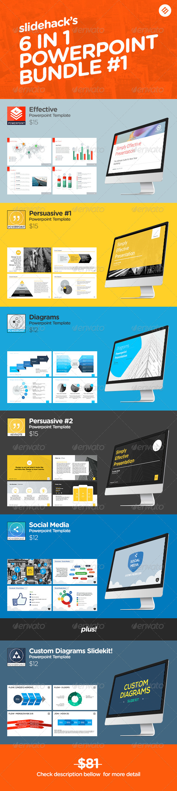 GraphicRiver Slidehack s 6 in 1 Powerpoint Bundle 7481469