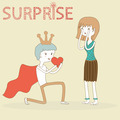 Doodle Prince Boy Gives His Heart to Girl on Valentine Day vector - PhotoDune Item for Sale