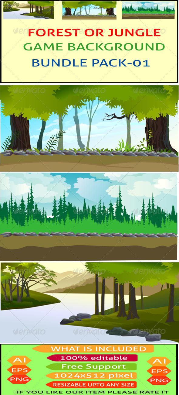 GraphicRiver Forest or Jungle Game Background Bunddle 7481799