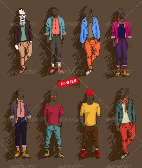 GraphicRiver Hipster Man in Fashion Set 7481934