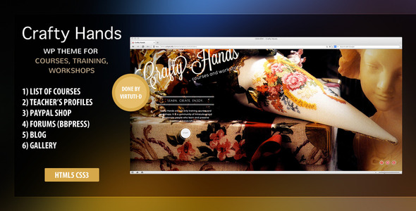 """""""Crafty Hands"""" is a WordPress theme suitable for arts, crafts, music, applied arts schools, courses and workshops. Comes with list of courses, teach"""