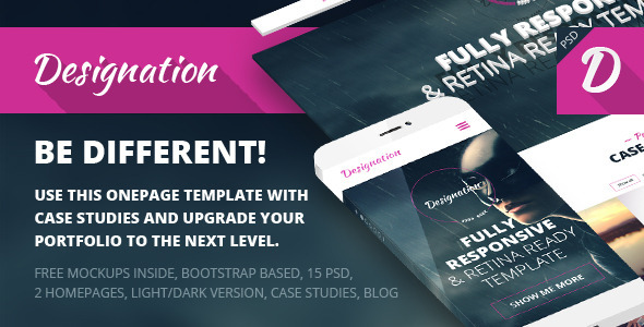 ThemeForest Designation One Page Portfolio PSD Template 7439879