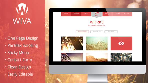 Wiva - One Page Parallax Muse Template - Creative Muse Templates