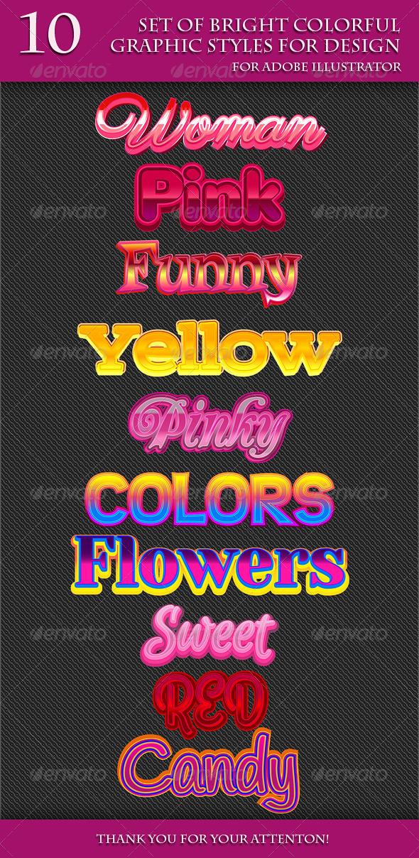 GraphicRiver Set of Bright Colorful Graphic Stylles for Design 7483338