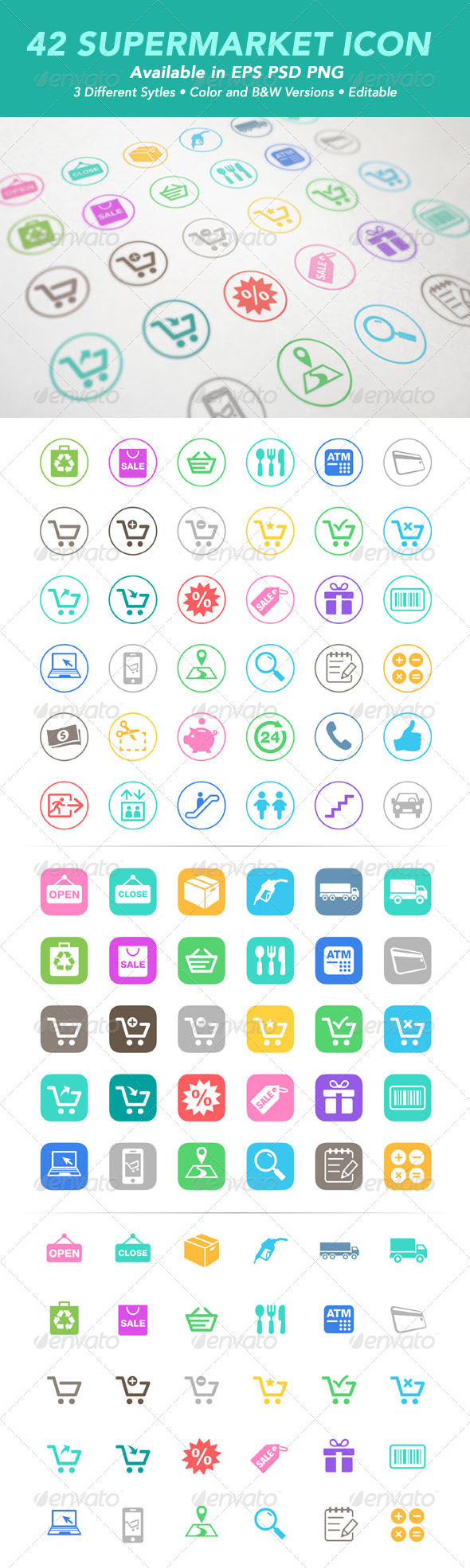 GraphicRiver 42 Supermarket Icons 7483923