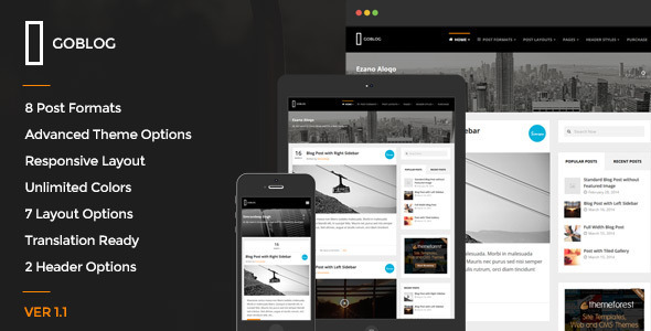 GoBlog - Responsive WordPress Blog Theme - Personal Blog / Magazine