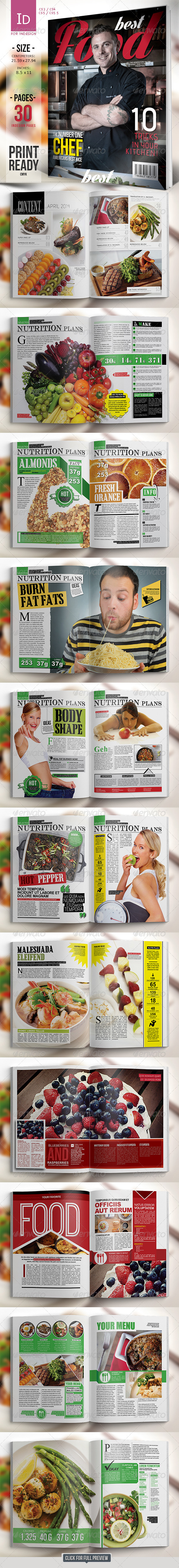 GraphicRiver Best Food Magazine Template 7484463