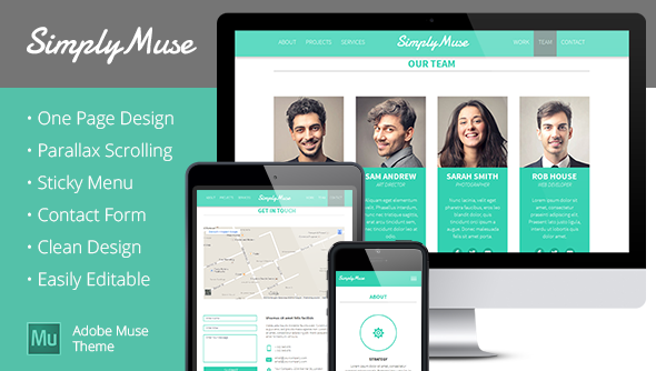 SimplyMuse - One Page Muse Theme - Muse Templates