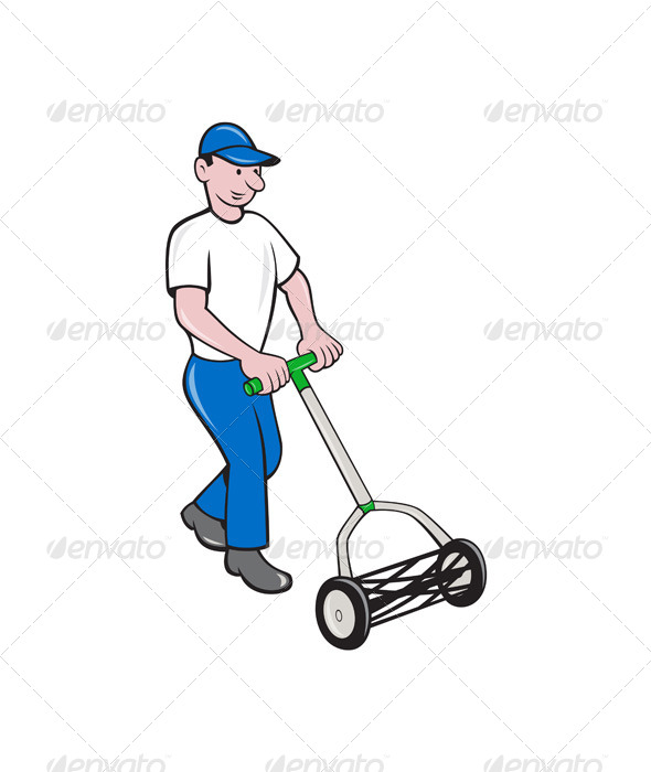 GraphicRiver Gardener Mowing Lawn 7484975