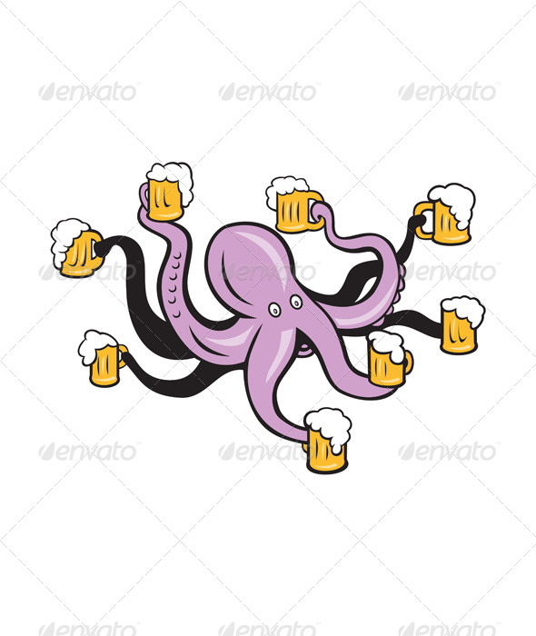 GraphicRiver Octopus Holding Mug of Beer Tentacles 7485059