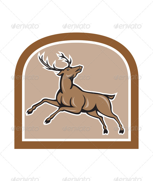 GraphicRiver Stag Deer Looking Up Jumping Cartoon 7485085