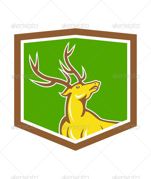 GraphicRiver Stag Deer Looking Up Shield Cartoon 7485087