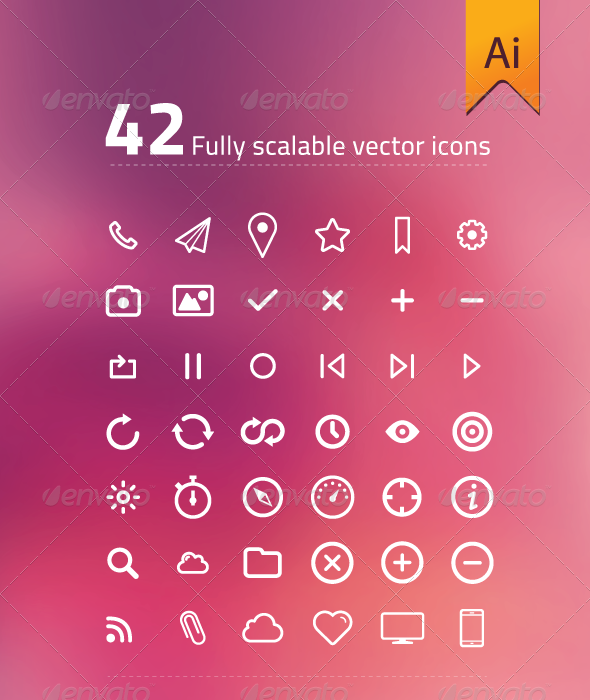 GraphicRiver 42 Fully Scalable Vector Icons 7485090