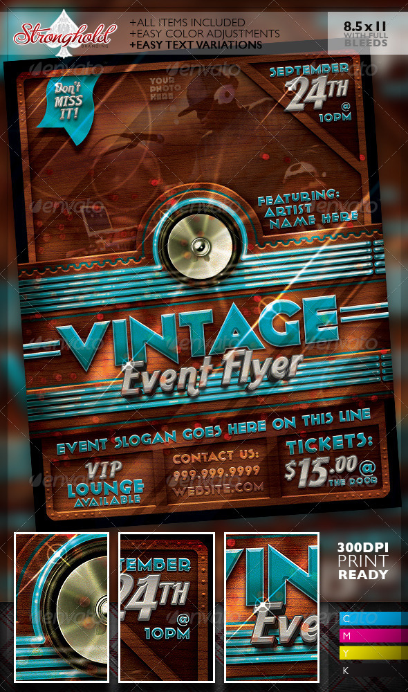 GraphicRiver Vintage Neon Event Party Flyer Template 7485819