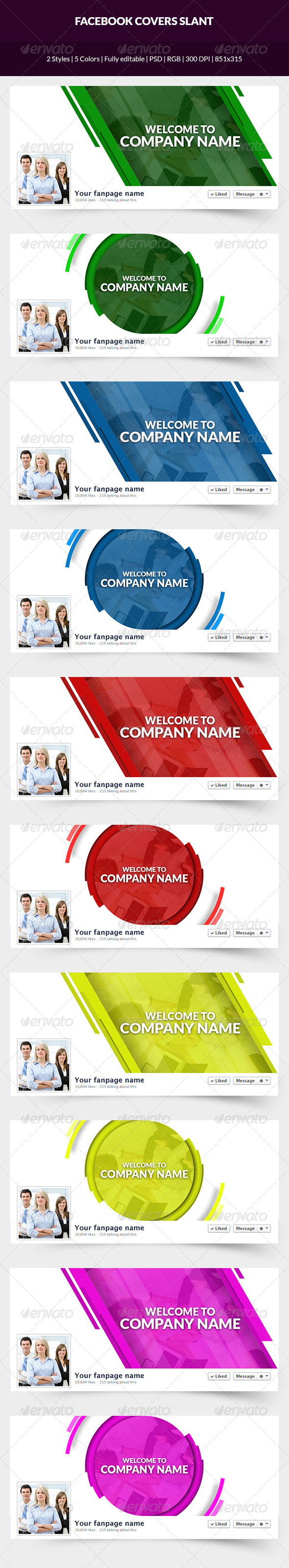 GraphicRiver Facebook Covers Slant 7485822