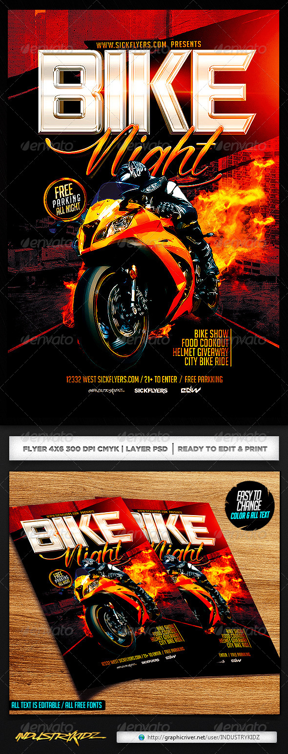 GraphicRiver Bike Night Flyer Template 7486030