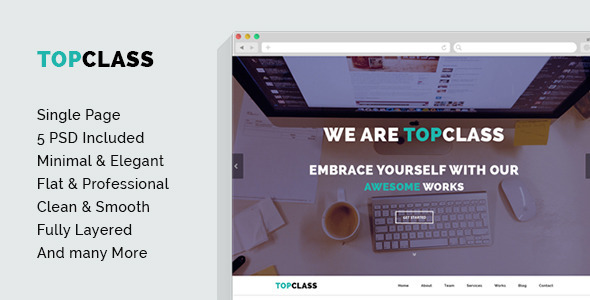 ThemeForest TOPCLASS OnePage Creative PSD Template 7486299