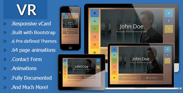 VR Responsive vCard Template - Virtual Business Card Personal
