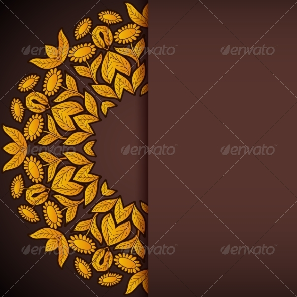 GraphicRiver Gold and Brown Sunflowers Round Invitation 7487564